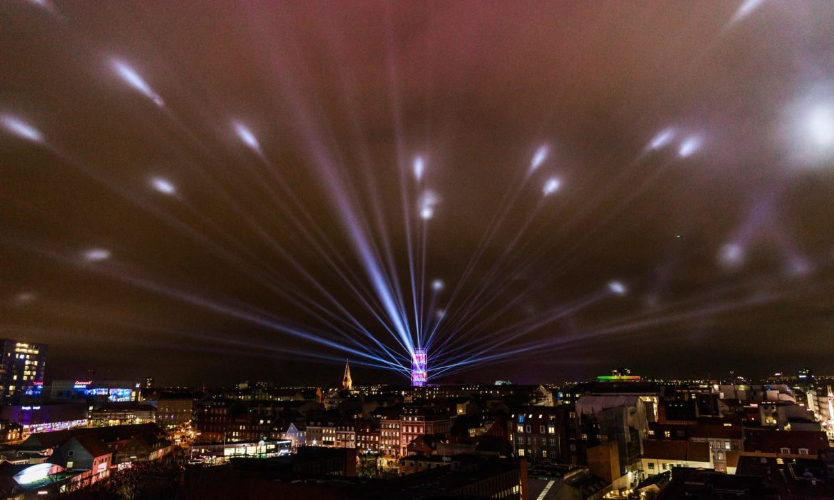 aarhus live event light show by night